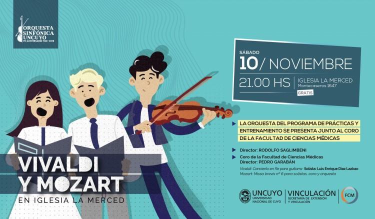 El Coro FCM interpretará Mozart y Vivaldi junto a la orquesta de Entrenamiento Orquestal UNCuyo
