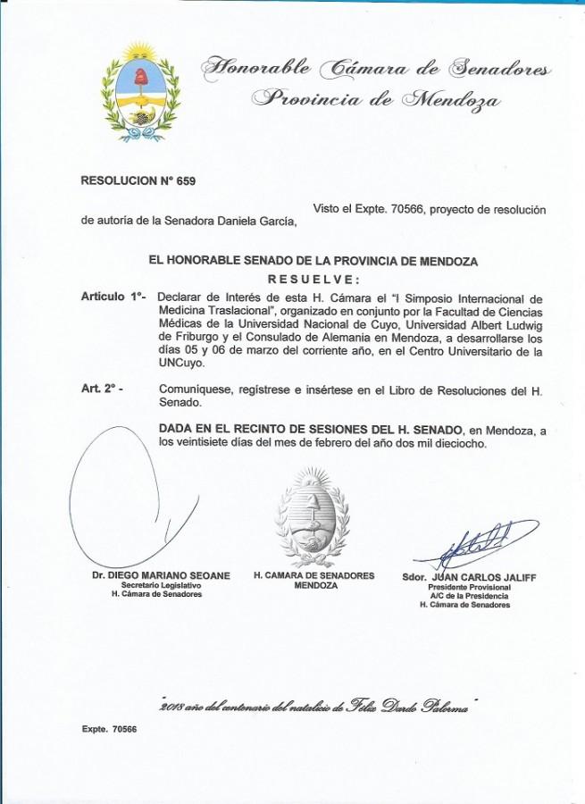 Resolución Nº 659 del Honorable Senado provincial